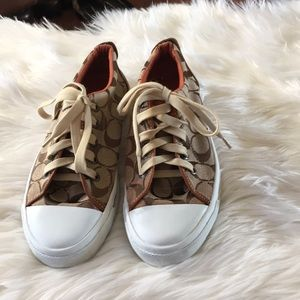 Coach signature sneakers with brown leather accent